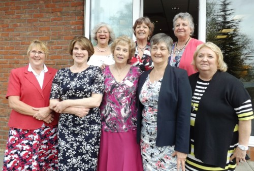 Committee at the 2015 Reunion.  Back row L-R: Hilary Jackson, Helen Tredget, Jackie Walford.  Front row: Rosie Eke, Margi Coates, Marianne Walker, Judi Gateley, Linda Ure.